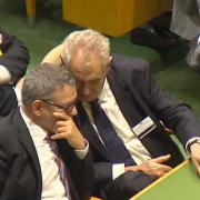 Miloš Zeman s Lubomírem Zaorálek během jednání OSN