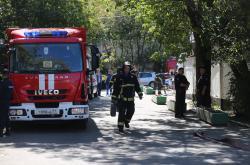 Požárníci na místě  zásahu