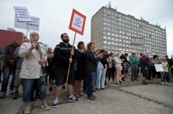Demonstrace na pražském sídlišti Písnice