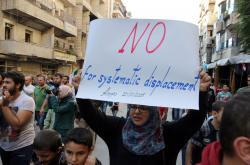 Protest proti evakuaci lidí v Aleppu