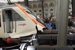 Havarovaný vlak na barcelonském nádraží
