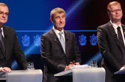 Miroslav Kalousek, Andrej Babiš a Pavel Bělobrádek v Superdebatě