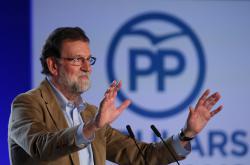 Španělský premiér Mariano Rajoy na mítinku v Katalánsku