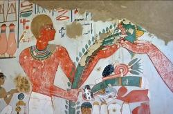 Fresky v hrobce na pohřebišti Dra Abul Naga