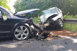 Dopravní nehoda dvou aut u Petřvaldu.