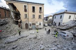 Amatrice v Itálii po zemětřesení