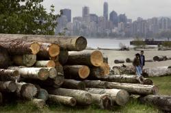 Složené klády na pozadí Vancouveru