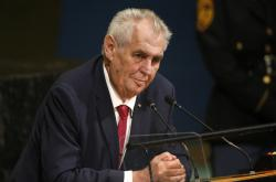 Miloš Zeman během projev v OSN