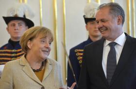 Andrej Kiska a Angela Merkelová