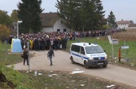 Migranti na slovínsko-chorvatské hranici