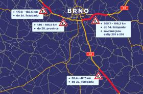 Uzavírky v okolí Brna