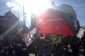 Oceláři demonstrovali proti levým dovozů z Číny v Bruselu