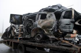 Zničený vůz OBSE