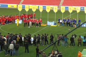 Natáčení na fotbalovém stadionu v Edenu