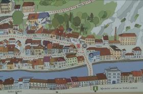 Mapa nově pojmenovaného náměstí v třebíčské židovské čtvrti