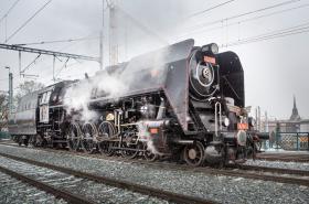 Parní lokomotiva Šlechtična při zatěžkávací zkoušce