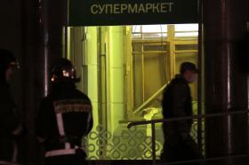 Zničený supermarket v Petrohradě