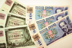 Českolovenské bankovky s kolky