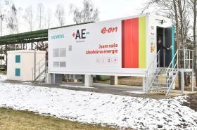 Bateriové úložiště společnosti E.ON v Mydlovarech (vnější pohled)