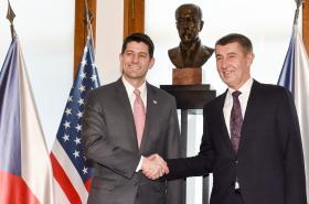 Premiér v demisi Andrej Babiš se šéfem Sněmovny reprezentantů Paulem Ryanem