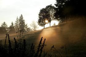 Ranní mlha v Halenkově na Vsetínsku