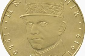 mince s portrétem Milana Rastislava Štefánika