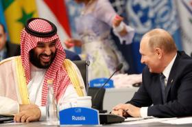 Saúdský korunní princ Muhammad bin Salmán s ruským prezidentem Vladimirem Putinem
