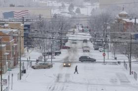 Rapid City v Jižní Dakotě pod sněhem