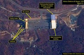 Satelitní snímek severokorejské střelnice Sohe ze 6. března 2019