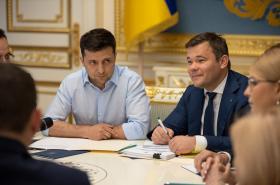 Ukrajinský prezident Volodymyr Zelenskyj na jednání se zákonodárci