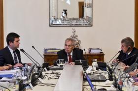 Jan Hamáček, Miloš Zeman a Andrej Babiš