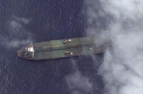 Sateltní snímek, který má ukazovat íránský tanker Adrian Darya 1 u syrského přístavu Tartús