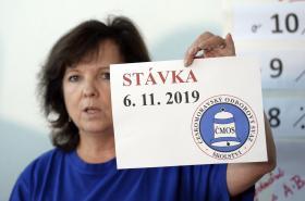Místopředsedkyně školských odborů Markéta Seidlová s logem středeční stávky