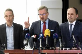 Ivan Bartoš (Piráti), Petr Fiala (ODS) a Marek Výborný (KDU-ČSL)