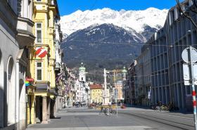 Prázdné ulice v Innsbrucku