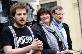 Aktivisté z portálu Žít Brno - zleva Matěj Hollan, Barbora Antonová a Svatopluk Bartík
