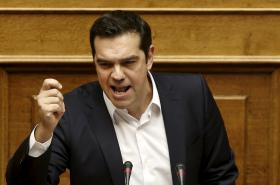 Premiér Alexis Tsipras v řeckém parlamentu