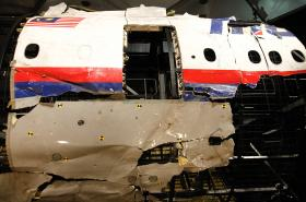 Trosky zříceného malajského letadla