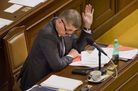 Andrej Babiš během hlasování o elektronické evidenci tržeb.