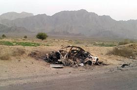 Vozidlo, ve kterém cestoval Mansúr, po zásahu dronem