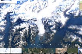 Aljašský ledovec Columbia v aplikaci Google Earth Engine