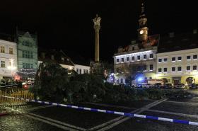 Pokácený vánoční strom v České Lípě 1. 12. 2016