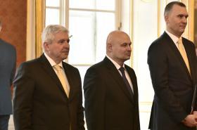 Guvernér ČNB Jiří Rusnok a noví členové rady Oldřich Dědek a Marek Mora