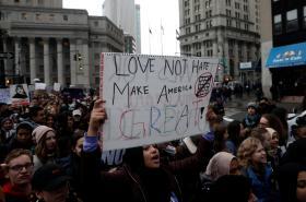 Protest proti Trumpově dekretu