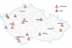 Mapa omezení provozu na železnici