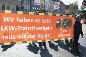 V německém Waldsassenu protestovali proti kamionům
