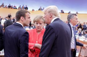Macron, Merkelová a Trump na summitu G20 v Hamburku