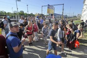 Lidé na dolním nádraží v Brně
