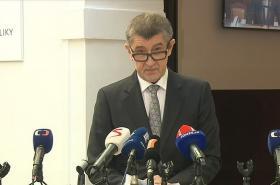 Premiér v demisi Andrej Babiš na středečním brífingu.