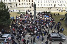 Studenti stávkovali i na Žižkově náměstí v Olomouci